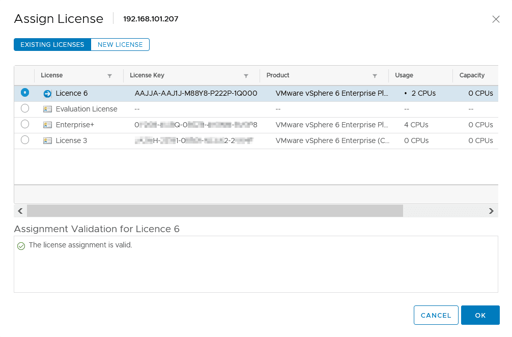 Viewing ESXi licenses managed by vCenter Server 6