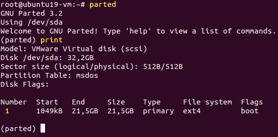 Viewing disk partitions with parted in Linux