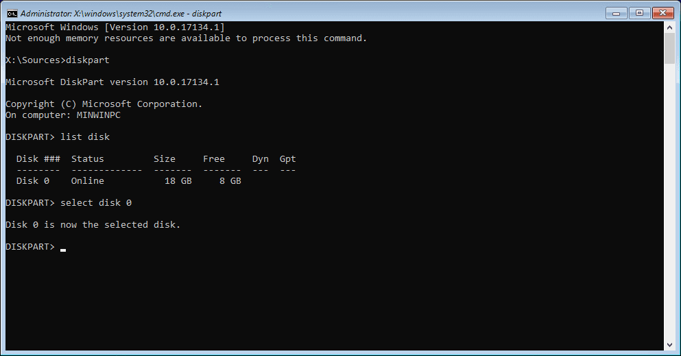 Viewing information about disks by using diskpart