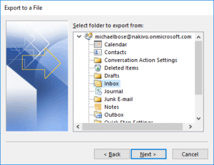 Selecting the Microsoft 365 email folder