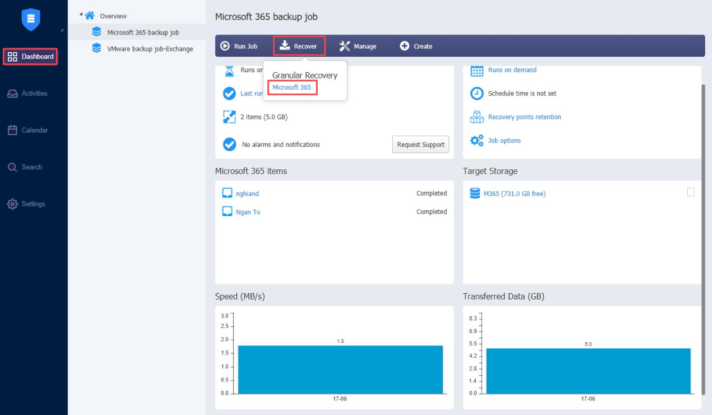 Microsoft Office 365 Recovery Job Wizard - NAKIVO Dashboard