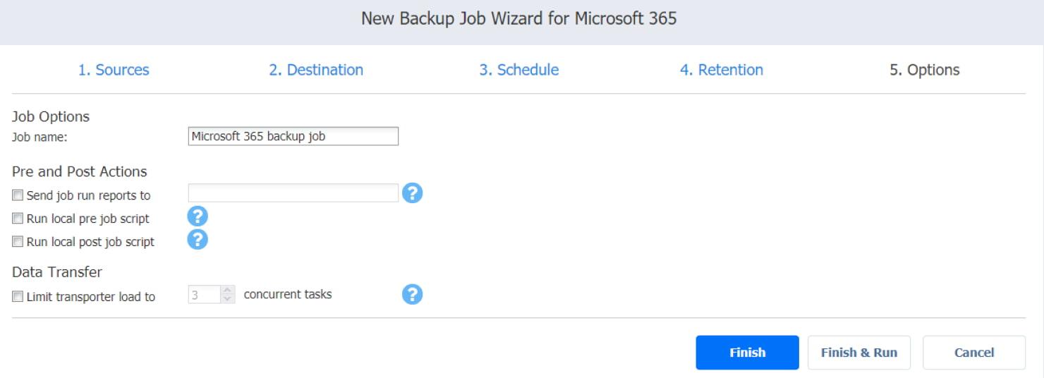 Procedura guidata dei processi di backup per Microsoft 365 - pagina Opzioni