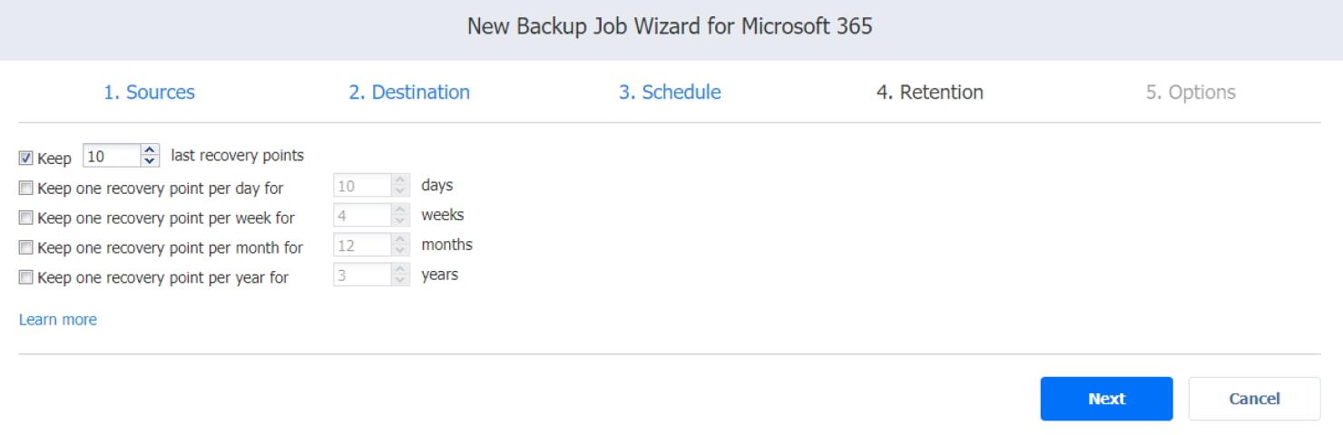Assistent für Sicherungsaufträge von Microsoft Office 365 – Aufbewahrungsseite