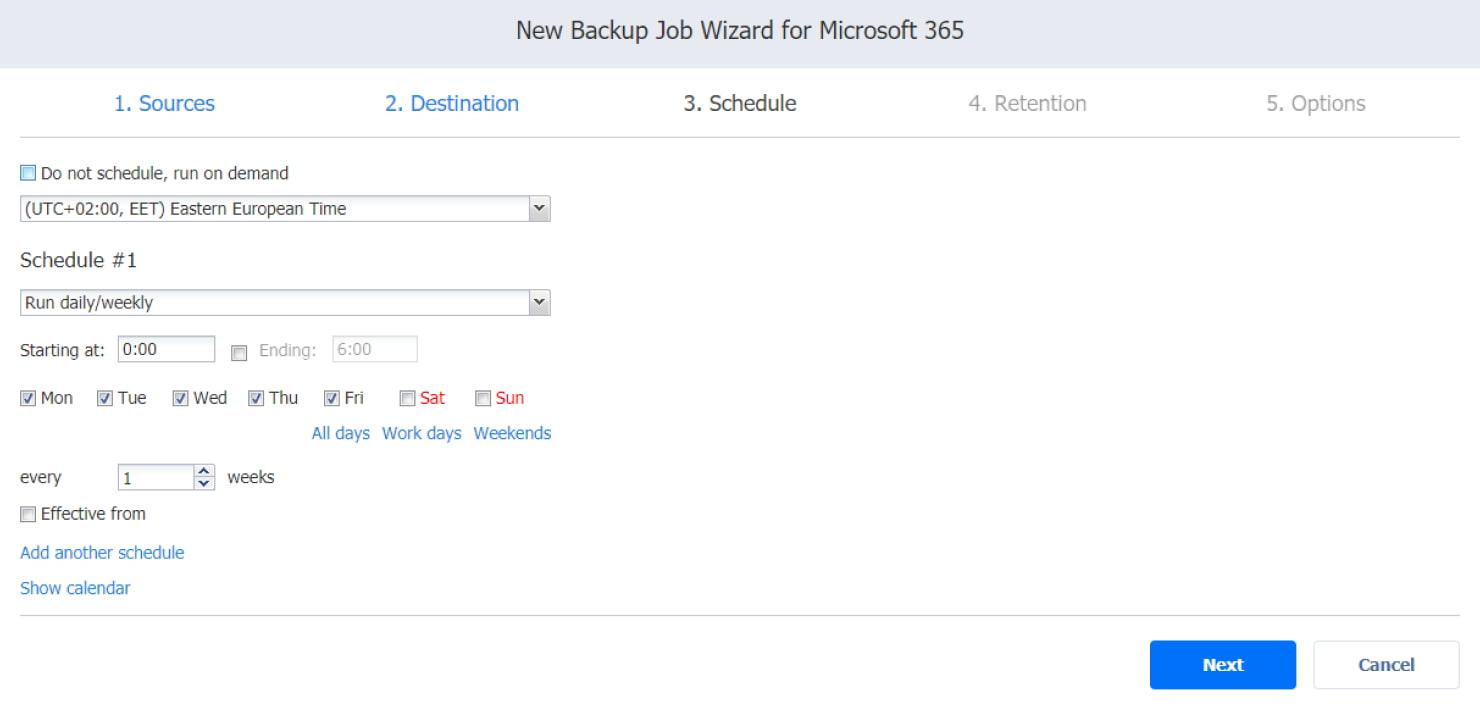 Procedura guidata del processo di backup per Microsoft 365 - pagina Pianificazione