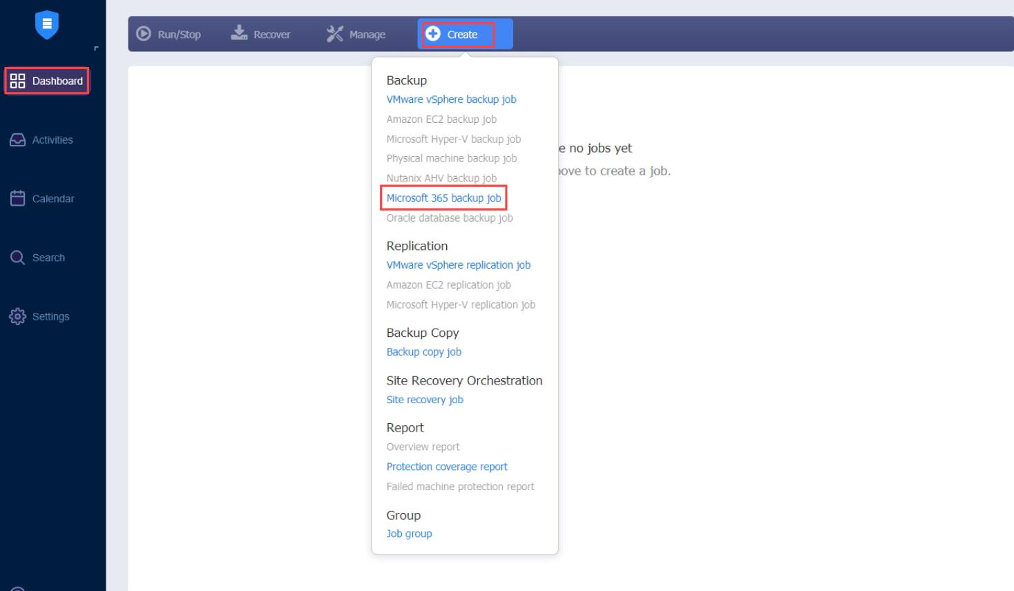 Sauvegarde pour Microsoft Office 365 - Tableau de bord NAKIVO