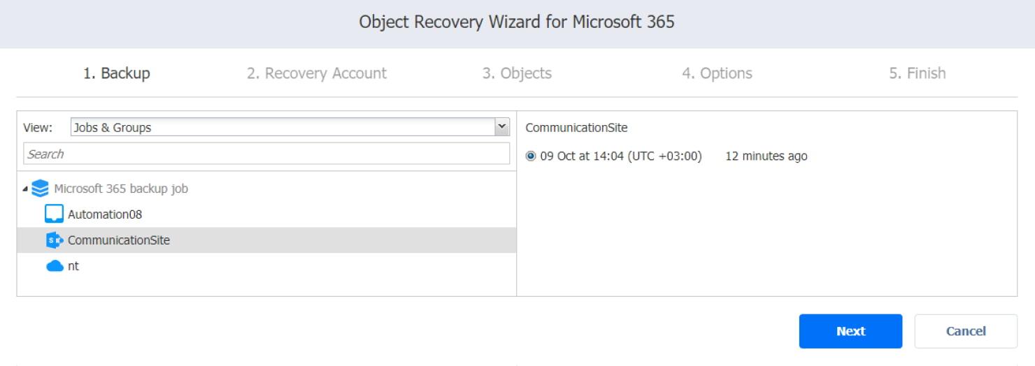 Procedura guidata del processo di ripristino per Microsoft 365 - selezione del backup