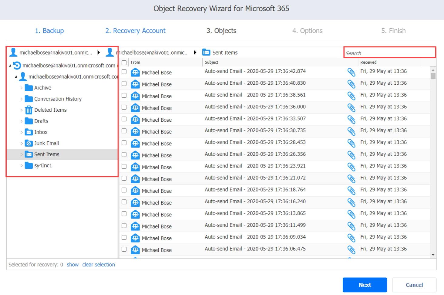 Asistente para jobs de recuperación de Microsoft 365: la página Objects