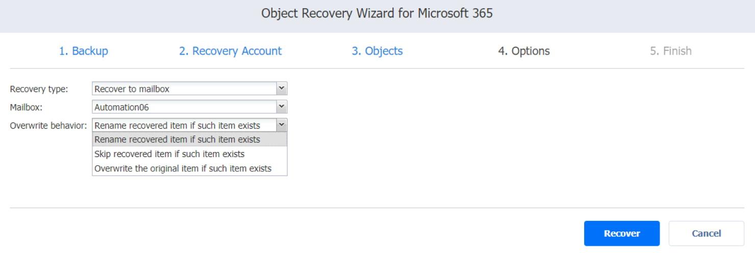 Asistente para jobs de recuperación de Microsoft Office 365: las opciones de comportamiento de la sobrescritura