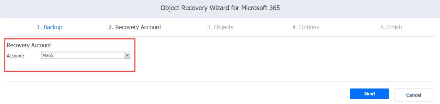 Asistente para jobs de recuperación de Microsoft Office 365: la cuenta de recuperació