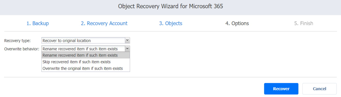 Procedura guidata del processo di ripristino per Microsoft 365 - opzioni del Tipo di ripristino