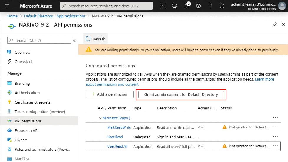 API permissions are added