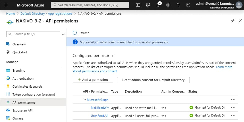 Admin's consent is granted for API permissions