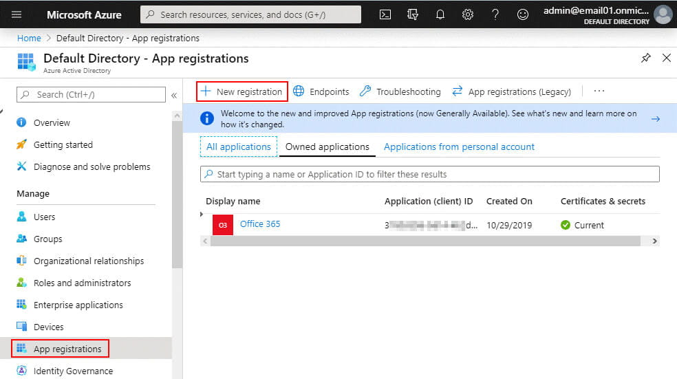 App registrations in Azure Active Directory are required to configure Office 365 backup