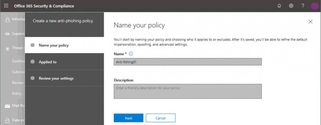 Entering a name for a new anti-phishing policy