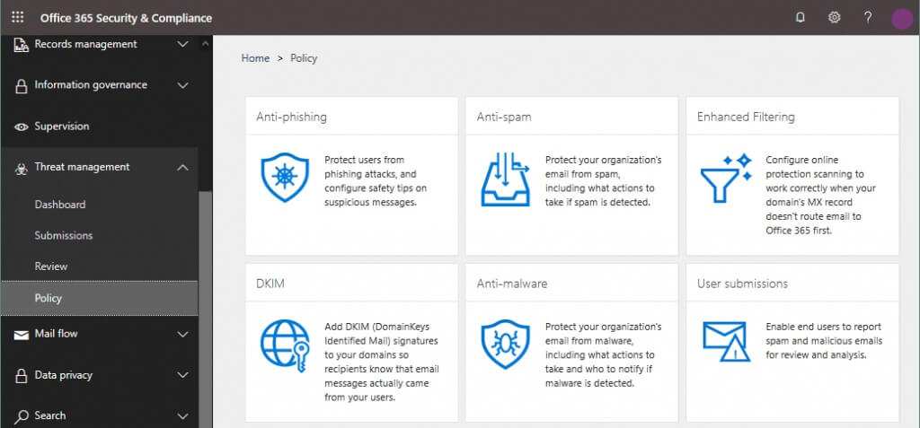 Managing policies for Office 365 Advanced Threat Protection