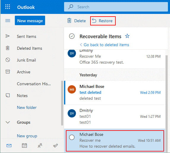 Office 365 recover deleted email from the Recoverable Items folder