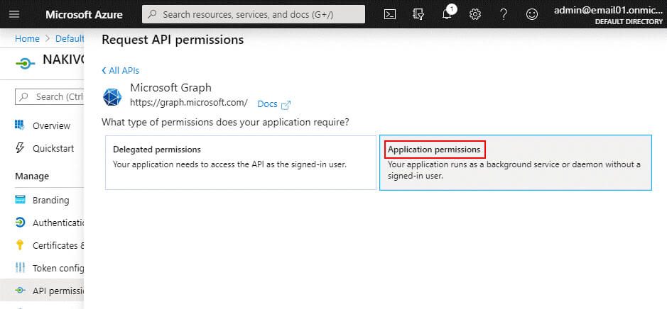 Selecting application permissions