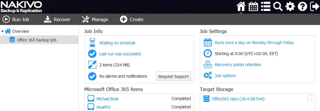 The Office 365 backup job has been completed successfully